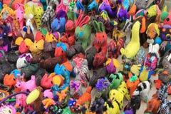 Handmade toy animals at craft market, Mexico royalty free stock image