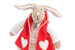 Handmade toy bunny. Handmade toy cute litlle New Year rabbit Stock Photography