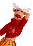 Handmade toy Christmas deer isolate over white Royalty Free Stock Image