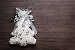 Handmade toy christmas tree on the wooden Stock Photo