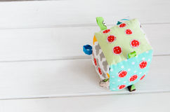 Handmade toy dice pillow with copy space Stock Image