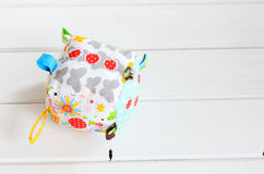 Handmade toy dice pillow with copy space Royalty Free Stock Photography