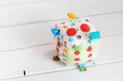 Handmade toy dice pillow with copy space Stock Photography