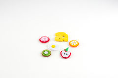 Handmade toy in the form of fruits and food made of felt . Close stock image