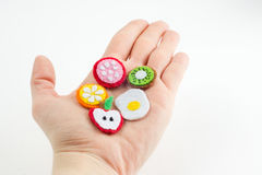 Handmade toy in the form of fruits and food made of felt stretch royalty free stock photos