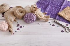 Handmade toy making, artisan workplace Stock Photo