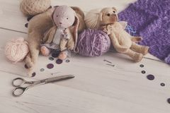 Handmade toy making, artisan workplace Royalty Free Stock Images