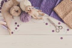 Handmade toy making, artisan workplace Royalty Free Stock Photo