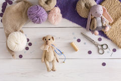 Handmade toy making, artisan workplace Royalty Free Stock Photography