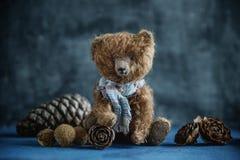 Handmade toy teddy bear brown plush pine cones Stock Photo