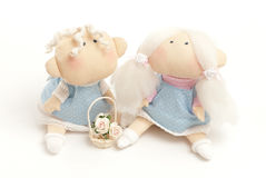 Handmade toys boy and girl Royalty Free Stock Photography