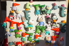 Handmade toys on display for sale. Royalty Free Stock Photos