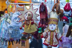 Handmade toys, dolls on a Christmas fair in St. Petersburg, Russ royalty free stock photo