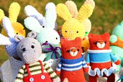 Handmade toys knitted, set of different animals stock images