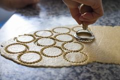 Handmade traditional pastry elaboration concept. stock photography