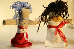 Handmade traditional toys. Color boy and girl during professional shooting Stock Photography