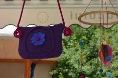 Handmade transylvanian bag. Handmade bag hanging at a local fair Stock Image
