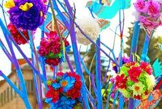 Handmade tree which children made due to Europe Day in Vinnytsia Stock Photo