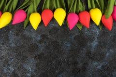 Handmade tulips on darken Stock Image