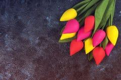Handmade tulips on darken Royalty Free Stock Photo