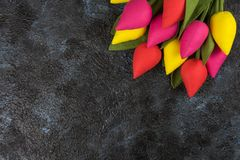 Handmade tulips on darken. Concrete background for Mother`s Day, spring time or Easter theme Royalty Free Stock Images