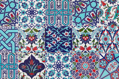 Handmade Turkish Blue Tiles on the wall in Istanbul City, Turkey Royalty Free Stock Image