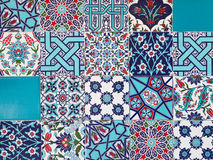 Handmade Turkish Blue Tiles on the wall in Istanbul City, Turkey. Close up Stock Photography