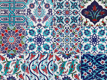 Handmade Turkish Blue Tiles on the wall in Istanbul City, Turkey Stock Images