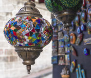 Handmade Turkish  Mosaic Glass Lamp Stock Photos