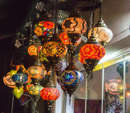 Handmade Turkish  Mosaic Glass Lamps Royalty Free Stock Image