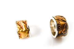 Handmade Tuscany silver rings Stock Images