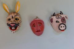 Handmade typical nicaraguan masks hanging Stock Images