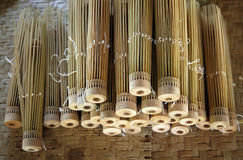 Handmade umbrella frames from bamboo Stock Photo
