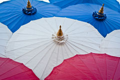 Handmade umbrella. Handmade red umbrella in thailand stock photo