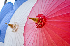 Handmade umbrella in thailand. Red handmade umbrella in thailand stock photo