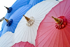 Handmade umbrella in thailand. Handmade red umbrella in thailand stock image