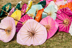 Handmade umbrellas made colors and the sun to dry Stock Photo