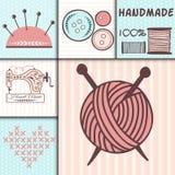 Handmade uszycia rzemiosła odznaki szy sztandar mody krawiectwo dostosowywają rękodzieło elementów wektoru ilustrację ilustracji