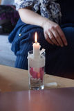 A handmade Valentie candle Stock Photo