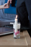 A handmade Valentine candle Royalty Free Stock Photo