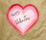 Handmade valentine card with heart. On a white background Stock Photography