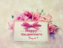 Handmade Valentines Day card with roses Royalty Free Stock Photos