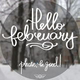 Handmade vector calligraphy. Hello february Royalty Free Stock Photo