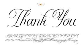 Thank You. Handmade vector calligraphy tattoo alphabet with numbers Royalty Free Stock Images