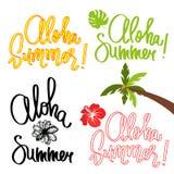 Handmade vector calligraphy and text aloha summer Stock Photo