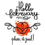 Handmade vector calligraphy and text Hello february Royalty Free Stock Photography