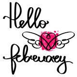 Handmade vector calligraphy and text Hello february. Handmade calligraphy and text Hello february. Poster with watercolor effect Royalty Free Stock Photos