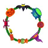 Handmade vector Plasticine round frame for Halloween. Vector illustration of bat, pot, candle, pumpkin, spider, candy, hat and lollipop isolated on white royalty free illustration