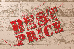 Handmade vector vintage sale sign banner on grunge brick wall. Royalty Free Stock Photos