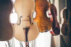 Handmade violin in luthier workshop Stock Photos